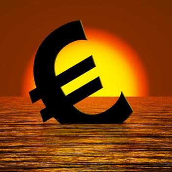 Euro Symbol Sinking And Sunset Showing Depression Recession And Econom