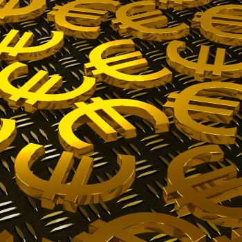 Euro Symbols On Floor Shows European Prosperity