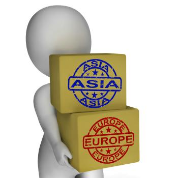 Europe Asia Import And Export Boxes Mean International Trade