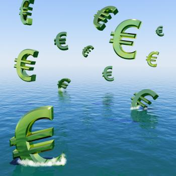 Euros Falling In The Sea Showing Depression Recession And Economic Dow