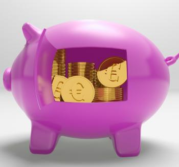 Euros In Piggy Shows Rich European Finances