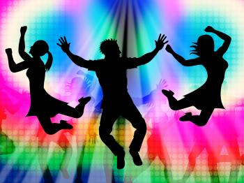 Excitement Jumping Represents Disco Dancing And Activity
