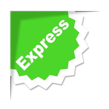 Express Delivery Label Shows High Speed And Courier