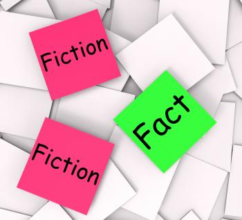 Fact Fiction Post-It Notes Mean Correct Or Falsehood