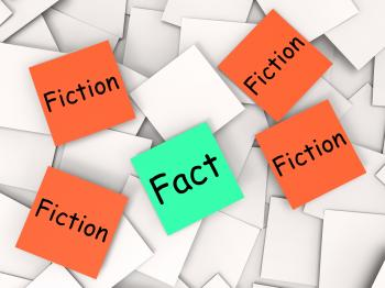 Fact Fiction Post-It Notes Mean Truth Or Myth