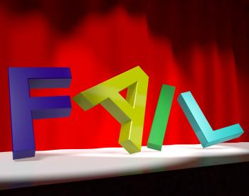 Fail Letters Falling Over As Symbol for Rejection Failure And Malfunct