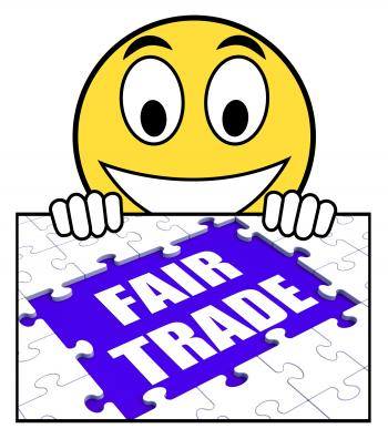 Fair Trade Sign Means Shop Or Buy Fairtrade Products