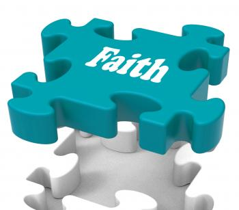 Faith Jigsaw Shows Believing Religious Belief Or Trust