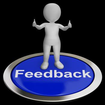 Feedback Button Shows Opinion Evaluation And Surveys