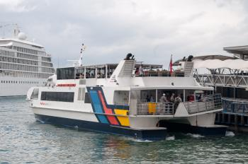 Ferry arriving at Pier 3 in Auckland
