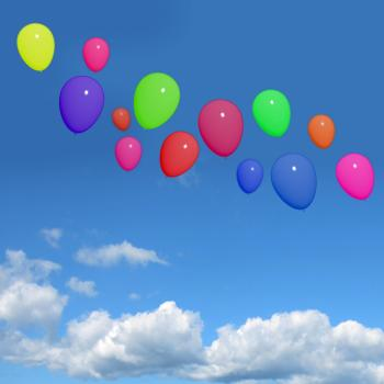 Festive Colorfull Balloons In The Sky For Birthday Or Anniversary Cele