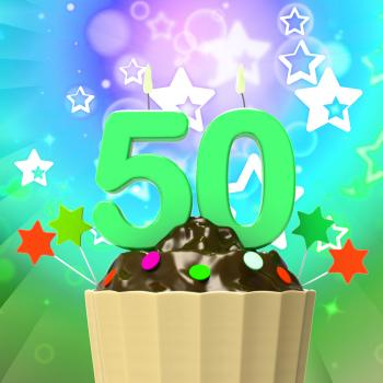 Fifty Candle On Cupcake Means Special Celebration Or Colourful Event