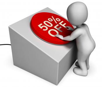 Fifty Percent Off Button Means Half-Price Bargain