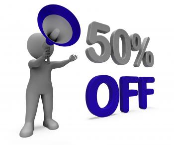 Fifty Percent Off Character Means Discount Price Or Sale 50