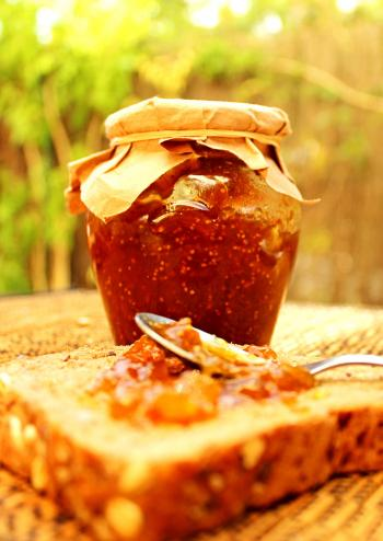 Fig jam on whole bread