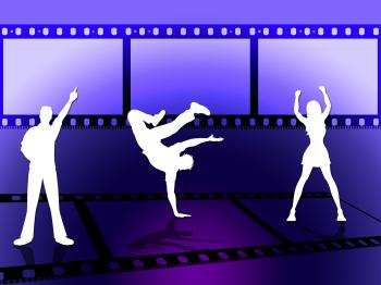 Filmstrip Dancing Indicates Disco Music And Border