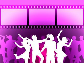 Filmstrip Disco Indicates Negative Joy And Dancing