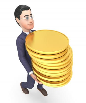 Finance Businessman Represents Coins Money And Success 3d Rendering