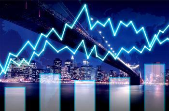 Finance graph on Manhattan at night