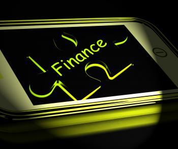 Finance Smartphone Displays Credit And Loan Money