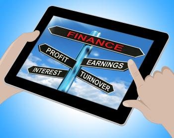 Finance Tablet Shows Profit Earnings Interest And Turnover