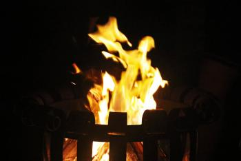 Fire flames lighting in the night