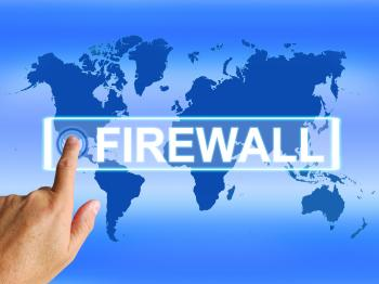 Firewall Map Refers to Online Safety Security and Protection