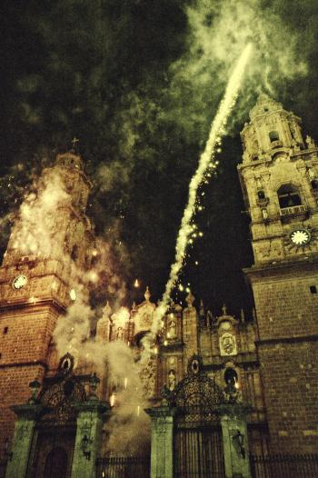 Fireworks In Front Of A Cathedral