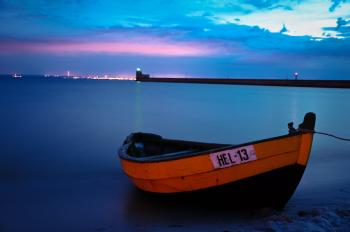 Fishing Boat in Hel by night, Poland