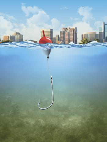Fishing line and hook under water