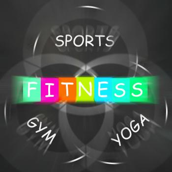 Fitness Activities Displays Sports Yoga and Gym Exercise
