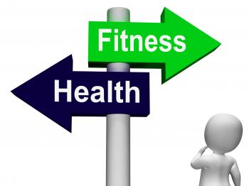 Fitness Health Signpost Shows Healthy Lifestyle