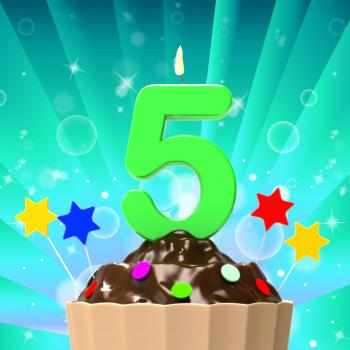 Five Candle On Cupcake Means Happiness And Celebration