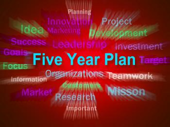 Five Year Plan Brainstorm Displays Strategy For Next 5 Years