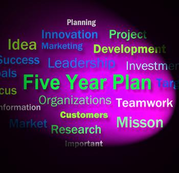 Five Year Plan Words Means Strategy For Next 5 Years