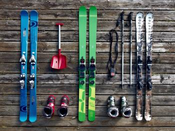 Flatlay of Skiing Equipment