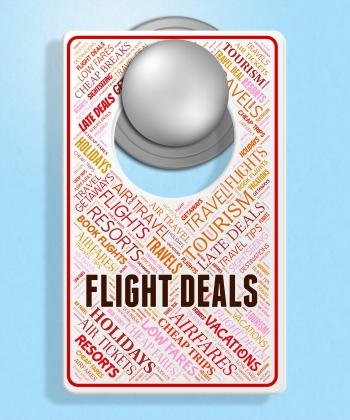 Flight Deals Indicates Promotion Plane And Sign