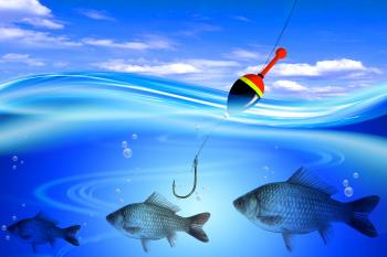 Float, fish, fishing line and hook