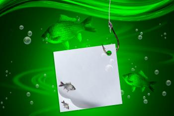 Float, fish, fishing line and hook with