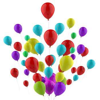 Floating Colourful Balloons Mean Carnival Joy Or Happiness