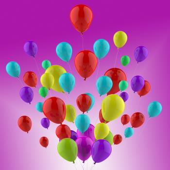 Floating Colourful Balloons Show Cheerful Party Or Celebration