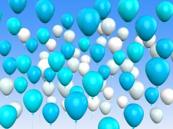 Floating Light Blue And White Balloons Mean Argentinean Flag Or Festiv