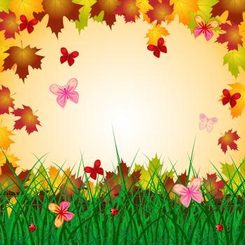 Floral Copyspace Indicates Bouquet Creature And Butterflies