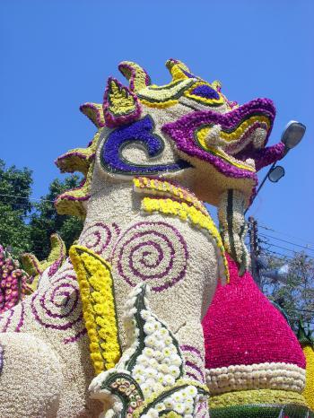 Floral Lion Sculpture