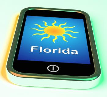 Florida And Sun On Phone Means Great Weather In Sunshine State
