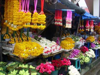 Flower garlands stall