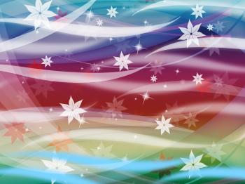 Flower Waves Background Shows Waves Colorful And Stars