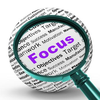 Focus Magnifier Definition Shows Concentration And Targeting