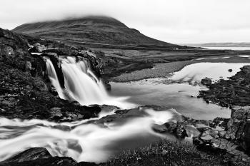 Foggy Kirkjufellsfoss - Black & White