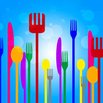 Food Knives Means Knife Blue And Utensil